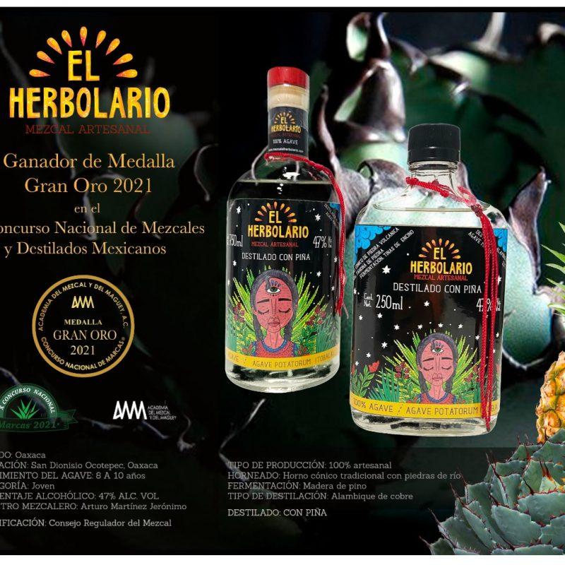 Mezcal El Herbolario DEstilado con Piña Ganador Gran Oro 2021 250 ml